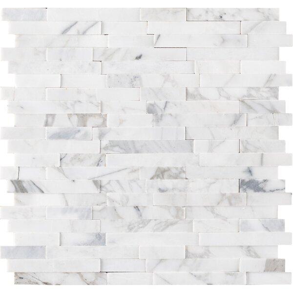 Calacatta Cressa Random Sized Marble Mosaic Tile in White by MSI