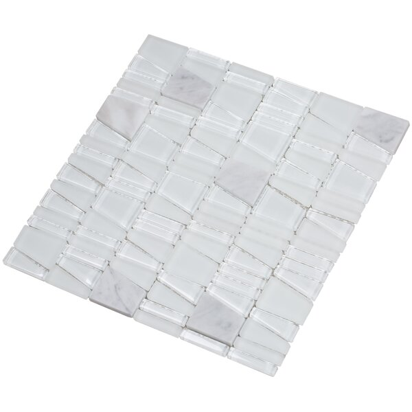 Avery 12 x 12 Glass/Stone Mosaic Tile in White by Mirrella