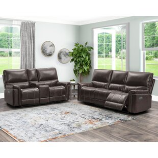 Annemasse Power Reclining Sofa And Console Loveseat, Brown by Lark Manor™