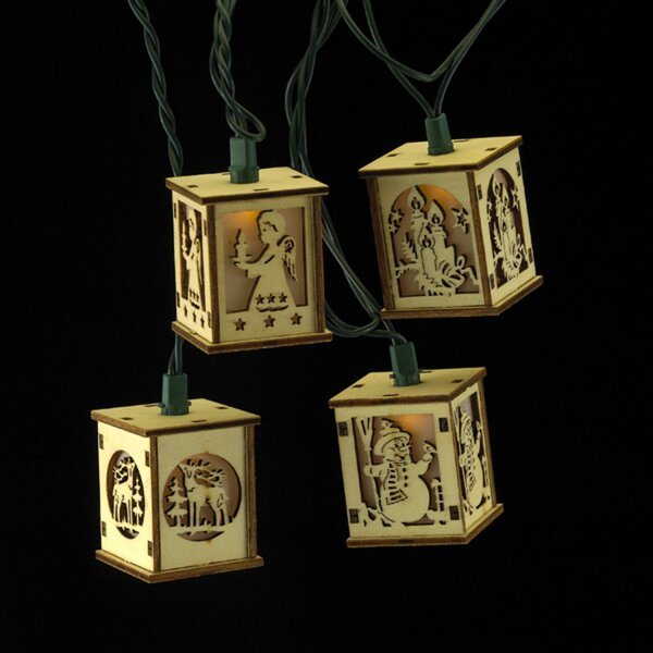 Wooden Cut-Out Lanterns Novelty Christmas 10 Light String Lighting by The Holiday Aisle