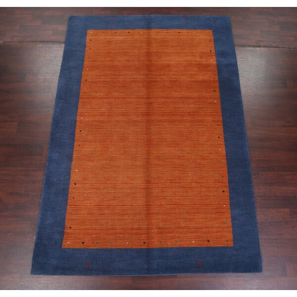 Fortune Indian Oriental Hand-Woven Wool Orange/Blue Area Rug by Ebern Designs