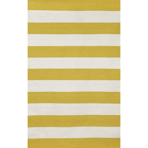 Ranier Stripe Hand-Woven Yellow/Ivory Indoor/Outdoor Area Rug by Beachcrest Home