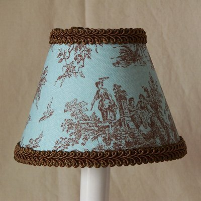 Jamestown 4 H Fabric Empire Candelabra shade ( Clip on ) in Blue/Brown
