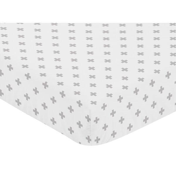 Fox Patch Swiss Cross Fitted Crib Sheet by Sweet Jojo Designs