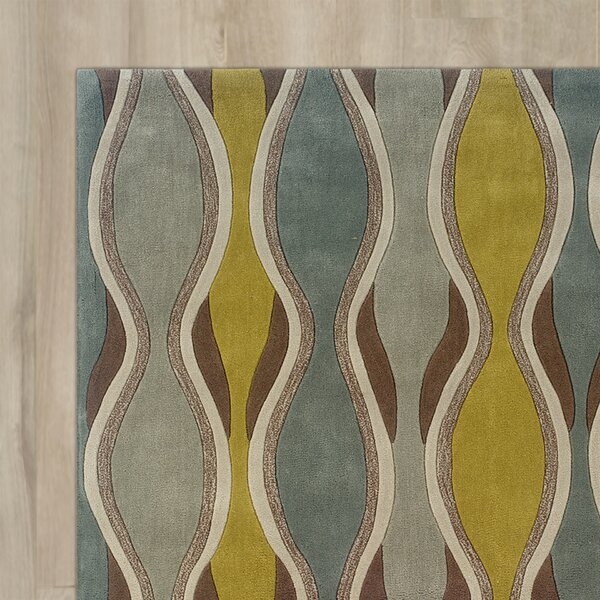Patin Hand-Tufted Chocolate / Spa Blue Area Rug by Wrought Studio
