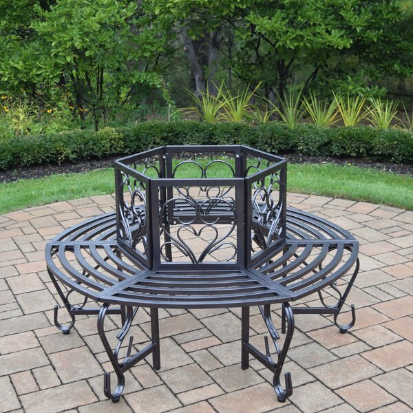 West Hill Scroll Tubular Iron Tree Bench by August Grove