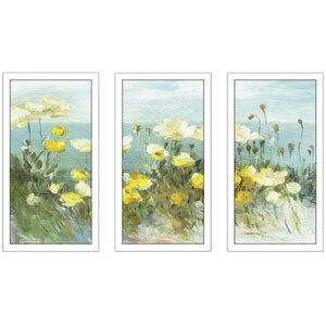 'Field of Poppies Bright' Framed Acrylic Painting Print Multi-Piece Image on Glass by Alcott Hill