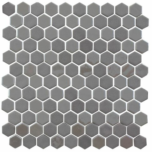 Onix 1 x 1 Glass Tile in Pewter by Madrid Ceramics