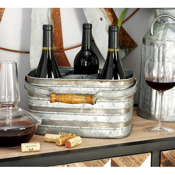Metal Galvanize 6 Bottle Tabletop Wine Bottle Rack By Cole & Grey by Cole & Grey Modern