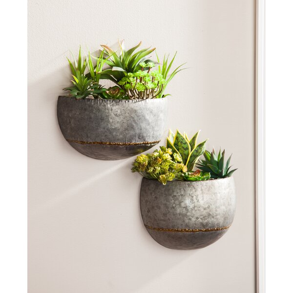 2-Piece Metal Wall Planter Set by Evergreen Enterprises, Inc