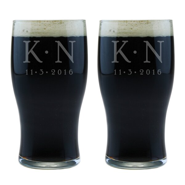 Dot Monogram and Date 20 Oz. Classic Pub Glass (Set of 2) by Susquehanna Glass