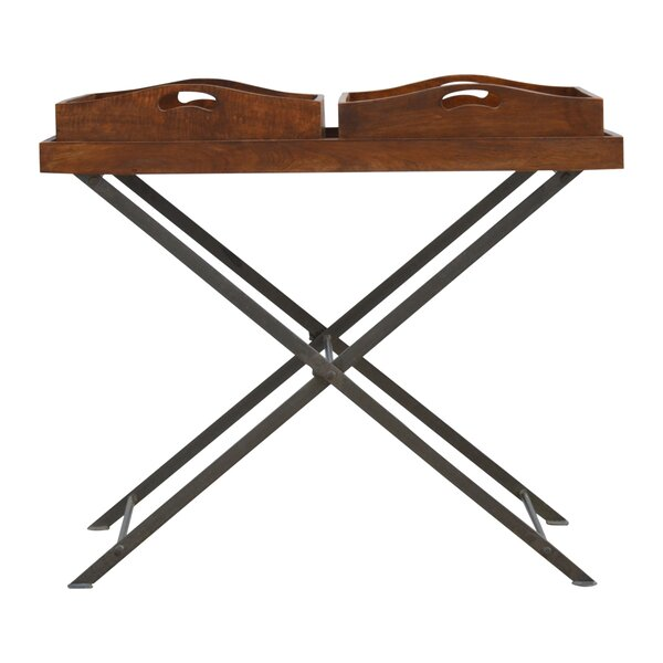 Boyce Metal Cross Legs Tray Table by Fleur De Lis Living