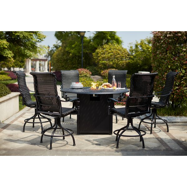Milliman 7 Piece Bar Height Dining Set with Firepit by Canora Grey