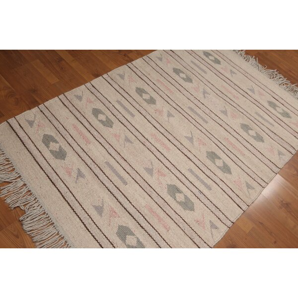 One-of-a-Kind Qualls Dhurry Kilim Reversible Hand-Woven Beige Area Rug by Bloomsbury Market