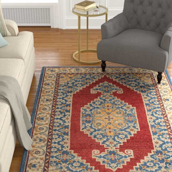 Clymer Antiquity Hand-Tufted Wool/Cotton Blue/Red Area Rug by Charlton Home