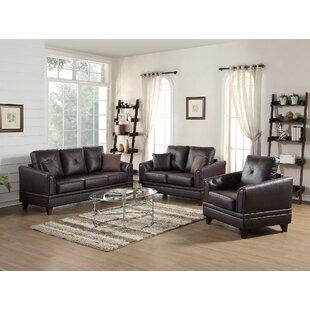Torain 3 Piece Leather Living Room Set