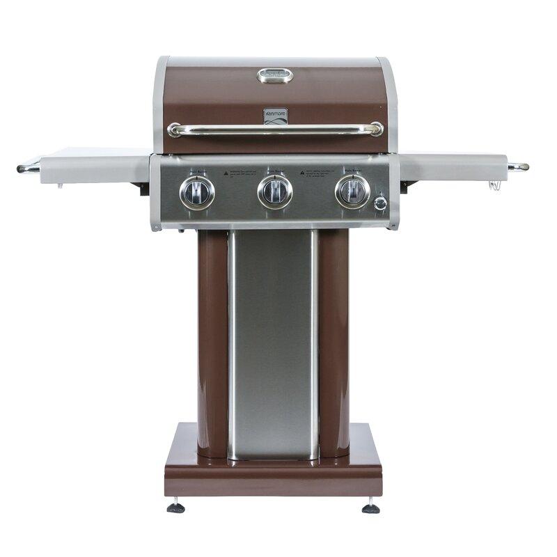 Kenmore 3 Burner Propane Gas Grill with Side Shelves | Wayfair