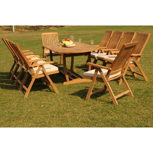 Euclid 11 Piece Teak Dining Set by Rosecliff Heights