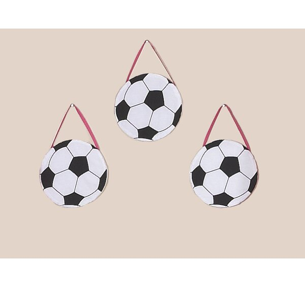 3 Piece Soccer Pink Wall Hanging Set by Sweet Jojo Designs
