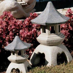 Pagoda 2 Piece Lantern Statue Set (Set of 2)