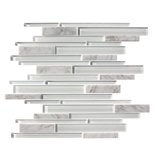 Marbella Random Sized Marble Stone and Glass Mosaic Tile in White by Mulia Tile