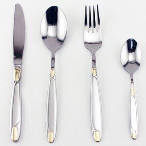 straight 72 piece gold flatware set
