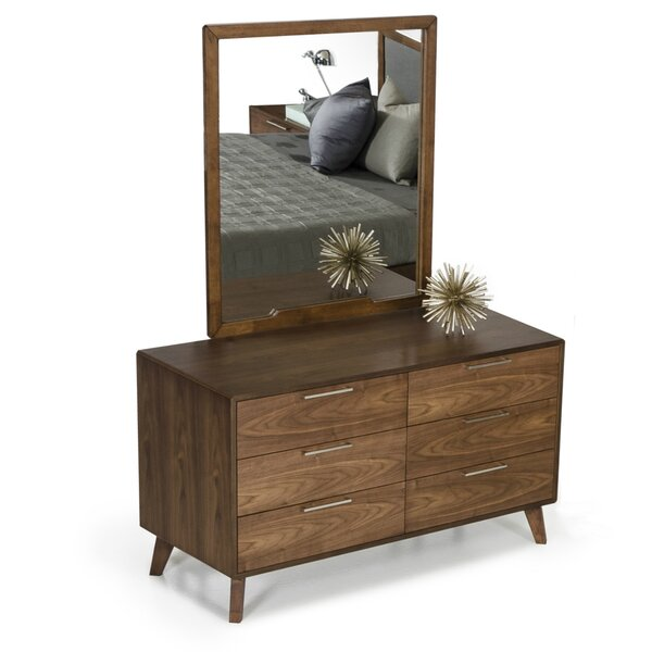 Ronan 6 Drawer Double Dresser with Mirror by Modern Rustic Interiors