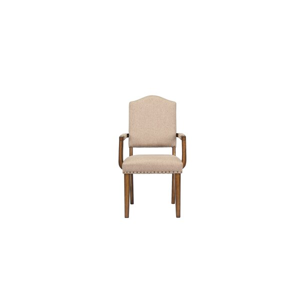 Palmateer Linen Upholstered Arm Chair In Khaki By Canora Grey