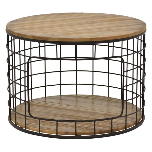 Honey Metal / Wood End Table with Storage by 17 Stories
