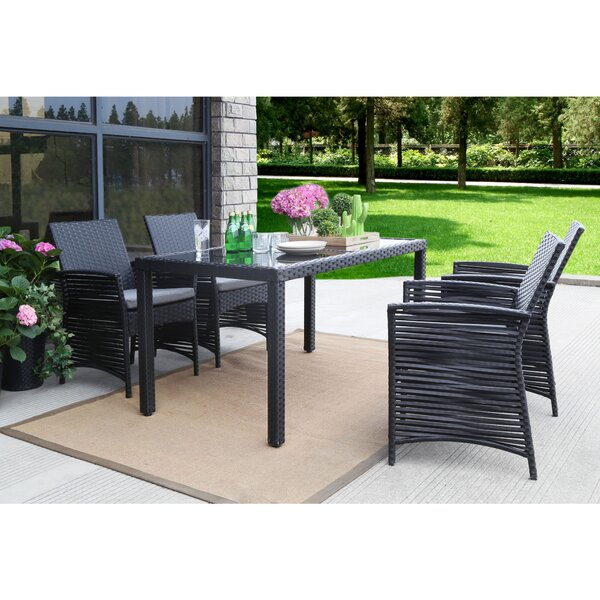 Clyde Backyard Steel Frame 5 Pieces Dining Set with Cushions by Bay Isle Home