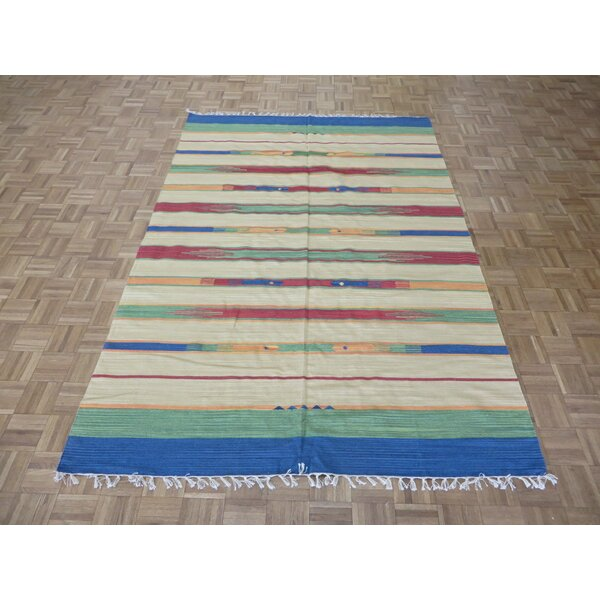 One-of-a-Kind Pasuruan Kilim Flat Weave Hand-Woven Reversible Hand-Knotted Wool Sky/Blue/White Area Rug by Bungalow Rose