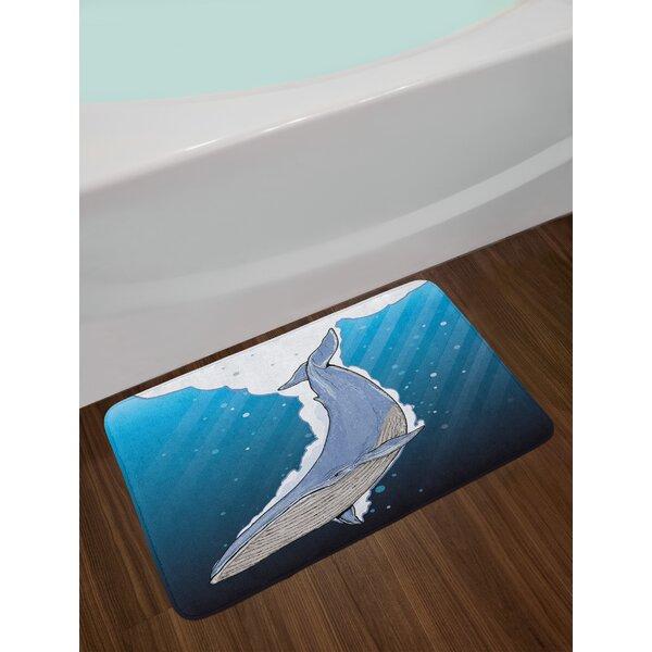 Whale Cartoon Whale Swimming Under Ocean with Fish Shells near Palm Island Environment Non-Slip Plush Bath Rug by East Urban Home