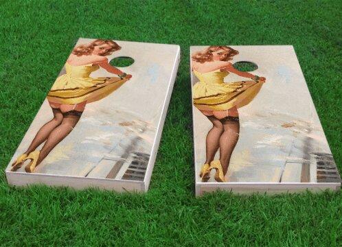 Yellow Pinup Girl Cornhole Game (Set of 2) by Custom Cornhole Boards