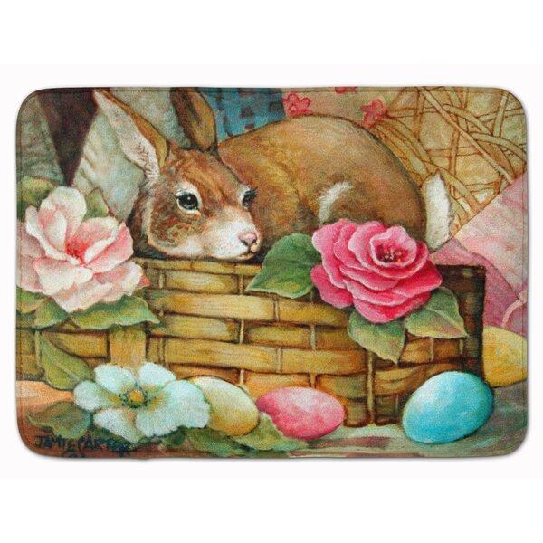 A Touch of Color Rabbit Easter Rectangle Microfiber Non-Slip Bath Rug