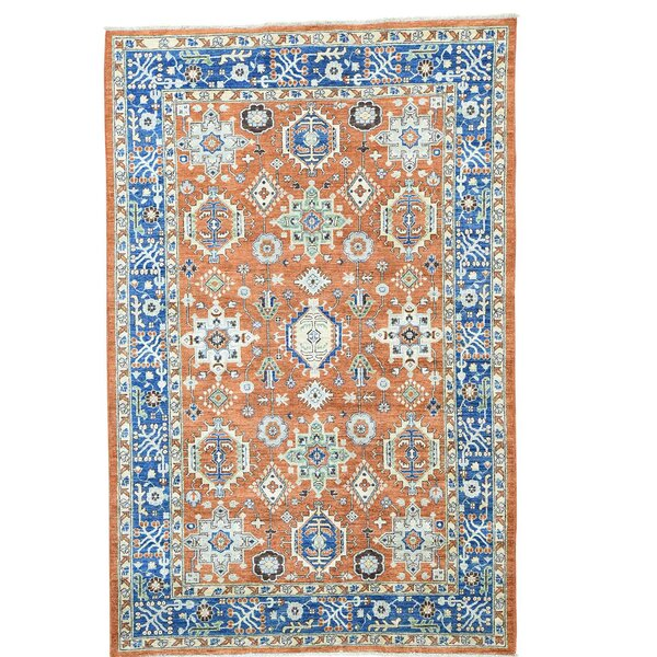 One-of-a-Kind Kenric Vintage Overdyed Hand-Knotted Burnt Orange/Denim Blue Area Rug by Canora Grey