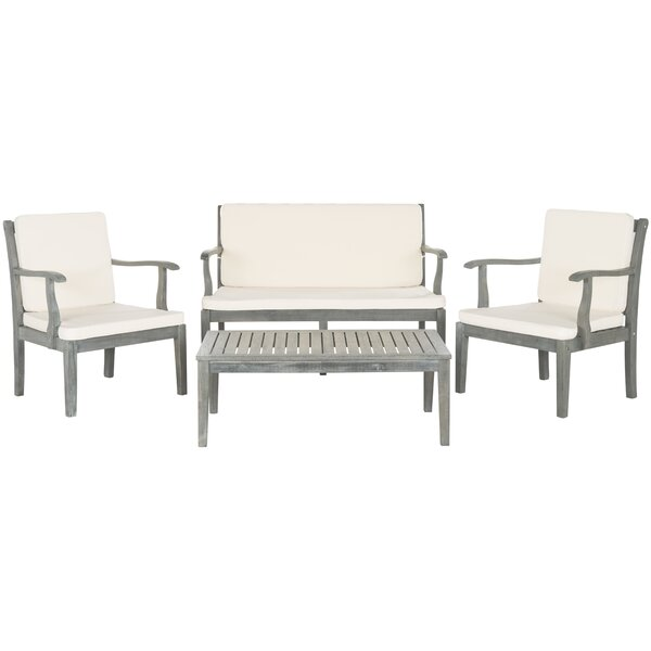 Fresno 4 Piece Sofa Set with Cushions by Safavieh