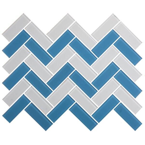 Signature Line Herringbone 1 x 3 Glass Subway Tile in Blue/Gray by Susan Jablon