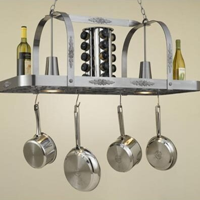 Monterey Rectangular Hanging Pot Rack with 2 Lights by Hi-Lite