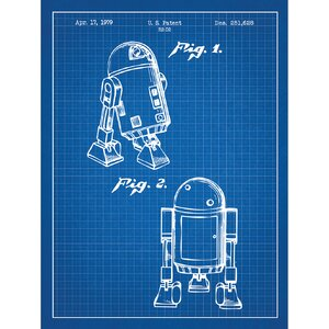 Sci-Fi and Fantasy 'Star Wars Characters: R2 D2' Silk Screen Print Graphic Art in Blue Grid/White Ink by Inked and Screened