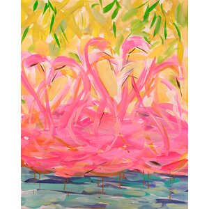 'Flamingos Print on Wrapped Canvas' by Bay Isle Home