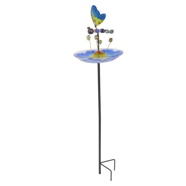Outdoor Butterfly Fusion Glass Decorative Bird Feeder (Set of 6) by Peaktop