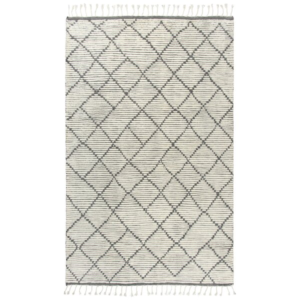 Doleman Geometric Hand-Knotted Wool Gray Area Rug by Bungalow Rose