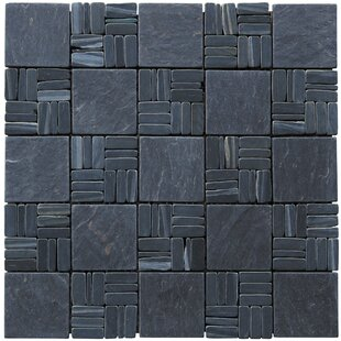 Landscape Wonder Alternate 2 X Natural Stone Mosaic Tile In Black Slate
