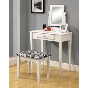 Vanity Set with Mirror & Zebra Print Stool by Monarch Specialties Inc.