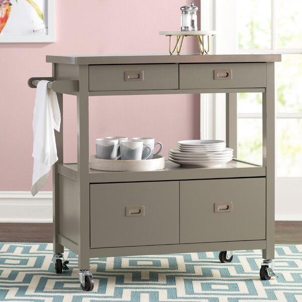 Eira Kitchen Island with Stainless Steel Top by Willa Arlo Interiors