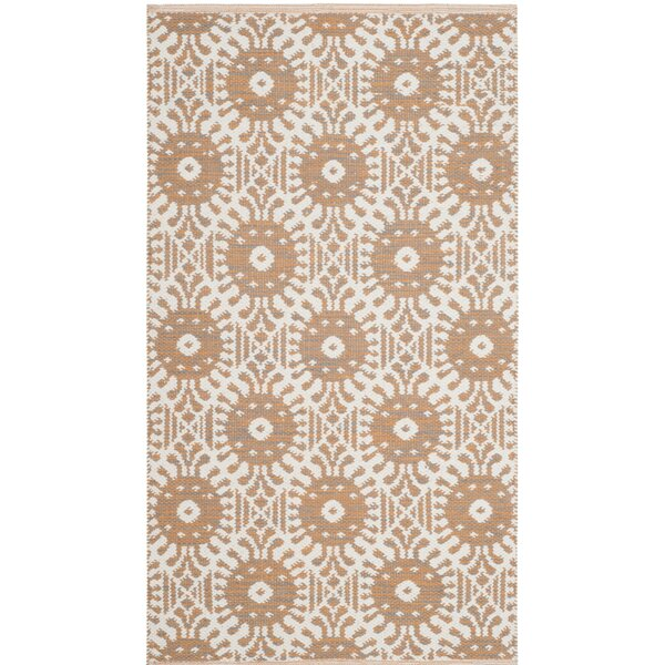 Clemence Hand-Woven Orange/Ivory Area Rug by Bungalow Rose