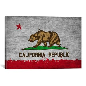 California Flag, Grunge Painted Vintage Advertisement on Canvas by iCanvas