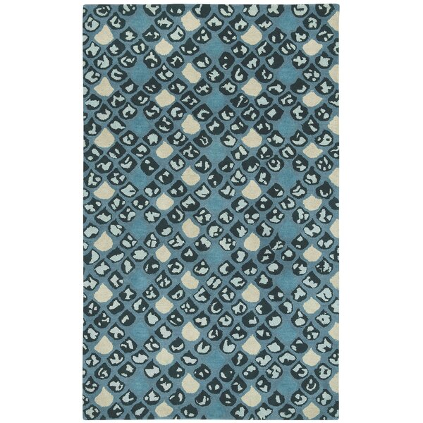 Lisbon Blue / Ivoryl Impressions Area Rug by Bungalow Rose