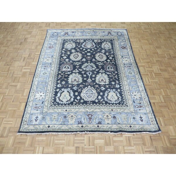 One-of-a-Kind Josephson Oushak Hand-Knotted Silk Navy/Sky Blue Area Rug by Canora Grey