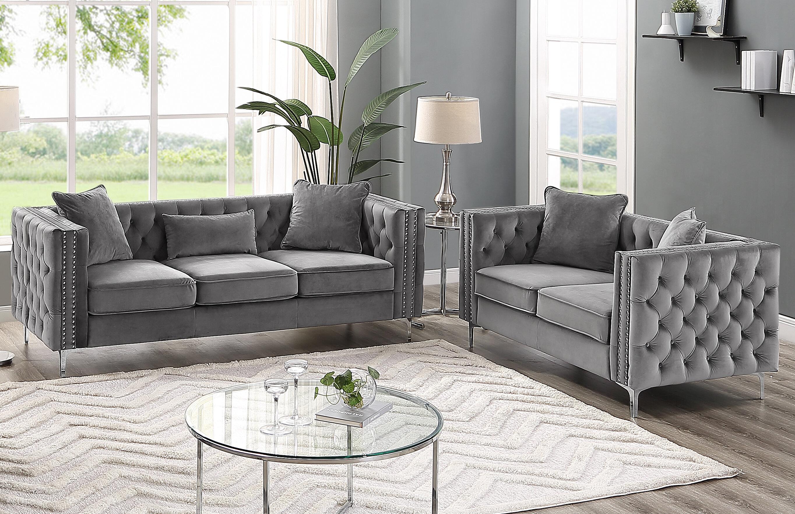 House of Hampton Marti Hickory Modern 2 Piece Living Room Set